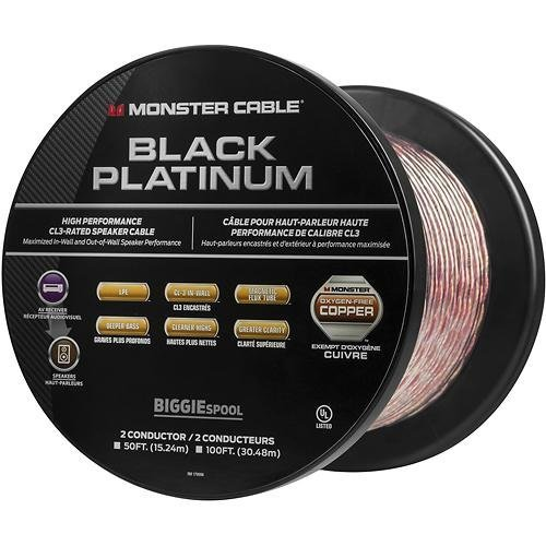 Monster Speaker Cable - Monster - Black Platinum XP Clear Jacket 50' Spool In-Wall Compact Speaker Cable - Clear/Copper