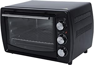 Countertop Oven, 20L Stainless Steel Toaster Oven with Timer, Bake Pan, Broil Rack & Toasting Rack 1300W of Power Hot Air Fryer Oven for Pizza, Chicken, Cookies
