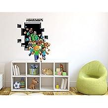 Fangeplus(TM) 3D Minecraft Run Away Hole View DIY Removable Art Mural Vinyl Waterproof Wall Stickers Kids Room Decor Nursery Decal Sticker Wallpaper 27.5''x19.6''