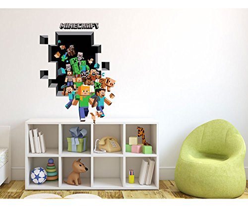 Homecube 3D Art Wall Sticker The Amazing Minecraft Wall Decal/cling Decor  PVC Wall Poster Part 38
