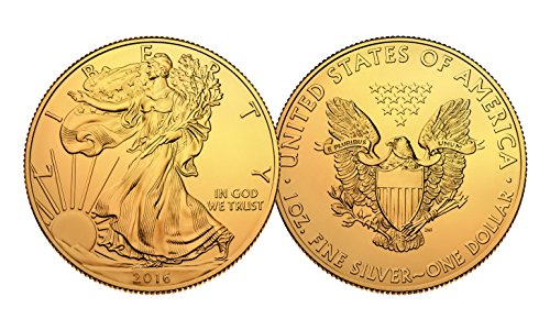 2016 Genuine 1 oz .999 Silver American Eagle U.S. Coin * Full 24KT Gold Plated *