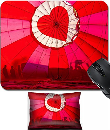 MSD Mouse Wrist Rest and Small Mousepad Set, 2pc Wrist Support design: 31166195 View of top of heart hot air balloon during inflation with silhouettes of people
