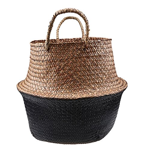 Woven Wicker Seagrass Plant Stand Flower Pot Care Storage Basket Woven Lightweight Foldable Collapsible Garden Yard Laundry Supplies Basket Patio Organizer Decoration (Nature-Black) by BetterHomePlus