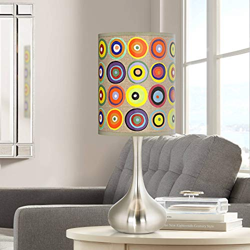 Modern Accent Table Lamp Brushed Steel Metal Droplet Marbles in The Park Giclee Shade for Living Room Family - Giclee Glow