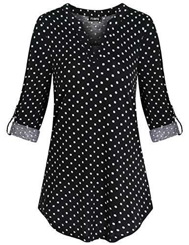 FINMYE Floral Shirts Women, Roll up Sleeve Shirts for Leggings Wrap V Neck Top A-line Flowy Floral Flattering Casual Clothing Chic Daily Black Polka Dots M (3/4 Sleeve Tunic Wrap)