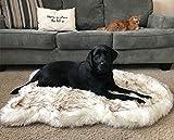 PupRug Faux Fur Memory Foam Orthopedic Dog Bed (Giant – 60″ L x 35″ W, White Curve)
