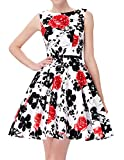 Claasical Scoop Neck Floral Pattern Swing Dress for Party JS6086-37# M