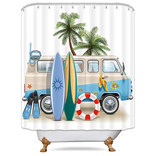Riyidecor Cdcurtain Vacation Coastal Shower Curtain Weighted Hem Beach Camping Dining Sunlight Palm Trees Blue Car Decor Fabric Set Polyester Waterproof 72x72 Inch 12 Pack Plastic Hooks