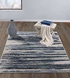 Diagona Designs Contemporary Stripes Design Modern 5\' by 7\' Area Rug, 63\
