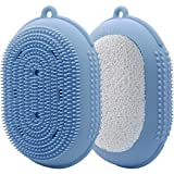 AOMUU Silicone Body Brush, 2 in 1 Exfoliating Body Scrubber and Loofah Bath Sponge Shower Brush for Women Men Children