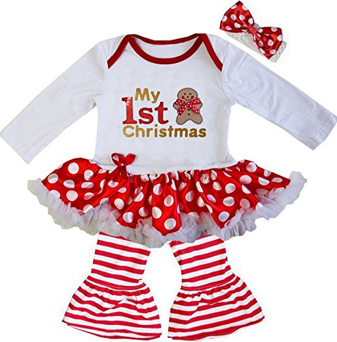 Kirei Sui Baby Gold Sparkle 1st Xmas Gingerbread ManRed Polka Dots Bodysuit Outfit Small Red (Breads Xmas)