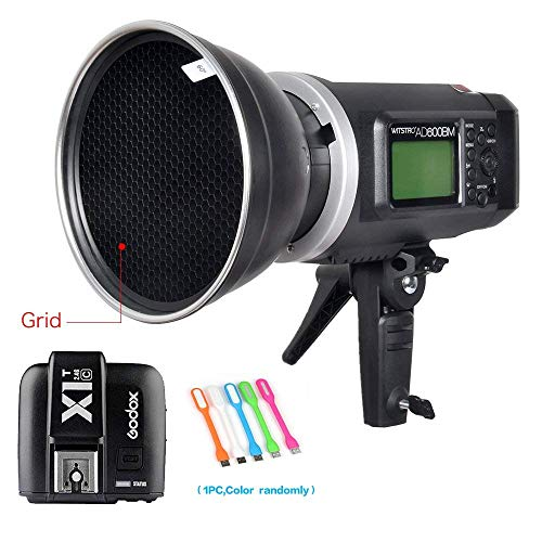 "Godox AD600BM Bowens Mount 600Ws GN87 HSS Outdoor Flash Strobe Light Monolight with X1T-C Wireless Trigger Transmitter Compatible for Canon Camera & 7"" Standard Reflector &60° Honeycomb Grid&USB Light"