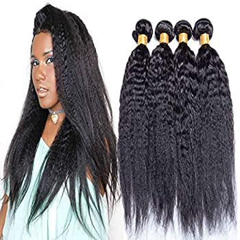 Image of Ali Moda 8A Yaki Kinky Straight Brazilian Hair 4 Bundles 100% Unprocessed Human Hair Weave Extensions Natural Color (26 26 26 26) Health and Household