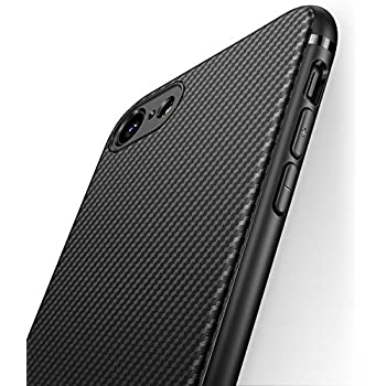 iPhone 7 Case iPhone 8 Case J Jecent [Carbon Fiber Texture Design] Durable Light Shockproof Cover Slim Fit Soft TPU Silicone Gel Bumper Case for iPhone 7 (2016) / iPhone 8 (2017) 4.7 inch - Black