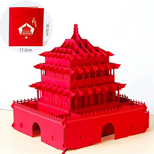 Paper Spiritz The Bell Tower 3D Pop up Greeting Card Postcard Matching Envelope Laser Cut Handmade Thank You Card Happy Birthday Mother's Day Post Card Gift( Red, Pack of - Text Weight 35 Paper