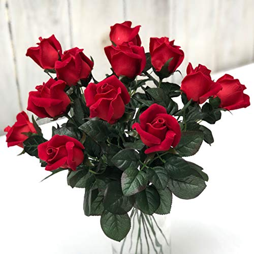TheBridesBouquet.com Red Roses One Dozen Fake Flowers for Romance I Love You Silk Artificial Flowers (red)
