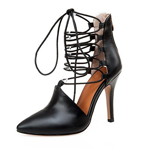 Adee Ladies Bandage Outdoor Mule Leather Sandals Black pjcYU9BE