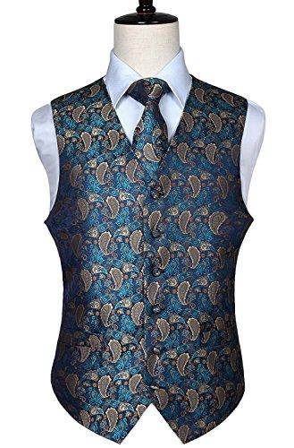 HISDERN Men's Paisley Floral Jacquard Waistcoat & Neck Tie and Pocket Square Vest Suit -