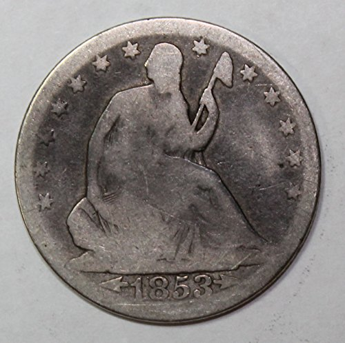 (1853 P Seated Half Dollar with arrows and rays 50c Good )