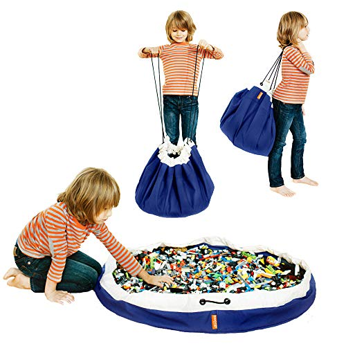 SWOOP Bag Original Toy Storage Bag + Play mat, Blue - Ideal for organizing and cleaning up Lego pieces! by Swoop Bags