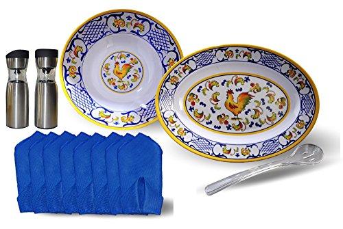 Rooster Design Serving Bowl and Platter, Set of Serving Spoons, Electric Gravity Salt and Pepper Mills, Blue Linen Napkins (8)