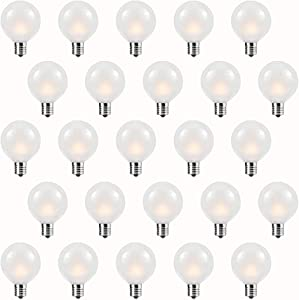 Abeja Frosted Replacement Bulbs 5 Watt 25 Pack G40 Outdoor Patio Garden Lights Incandescent Replacement Bulb E12/C7 Candelabra Base