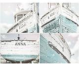 Nautical Ship Print Set Teal, Lakehouse Decor, Cottage Decor, Teal Nautical, Beachy, Shabby