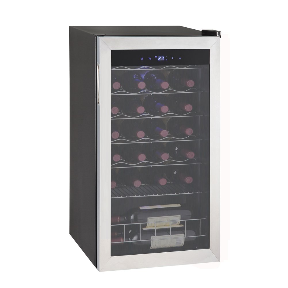 Smad 28 Bottles Compressor Wine Cooler Refrigerator Single Zone Stainless Steel Door Frame