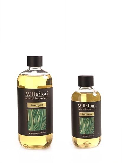 Millefiori 7relg Lemon Grass Botella 500 ML para ambientador difusor Natural, plástico, Amarillo,