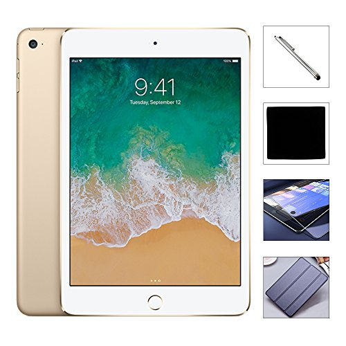 Apple iPad Mini 4 128GB W/$49.99 Value Accessories, 7.9″ Retina Display, 2GB RAM, Dual-Core A8 Chip, Quad-Core Graphics, Wi-Fi, MIMO, Bluetooth, Apple iOS 9 (Gold)