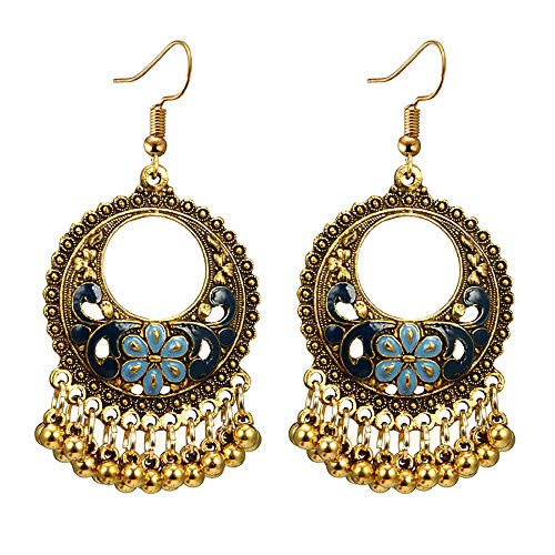 - Toponly Bohemian National Style Hollow Water Drop Shaped Alloy Long Oil Flowers Hollow Round Bells Tassel Earrings