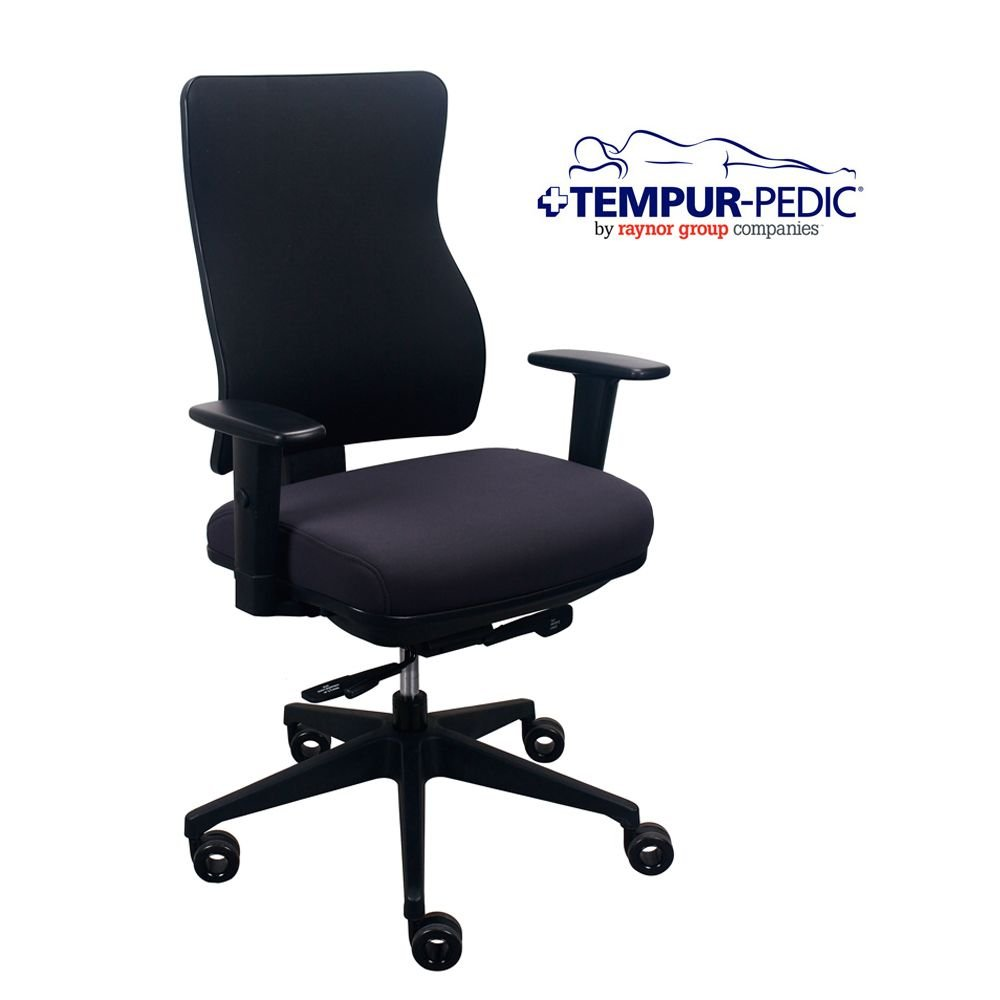 Comfort Seating Tempur-Pedic174; Fabric Task Chair Dimensions: 26.5''W x 22.8-31.3''D x 39.7-45''H Seat Dimensions: 19.75''Wx16.5-18.5''D Dark Java Fabric Seat/Eclipse Fabric Back/Black Frame by Tempur-Pedic