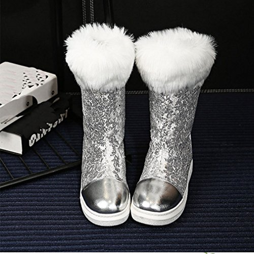 GIY Womens Winter Mid Calf Waterproof Snow Boots Fur Lined Round Toe Flat Fashion Sequins Snow Boot Silver D7qzWt3