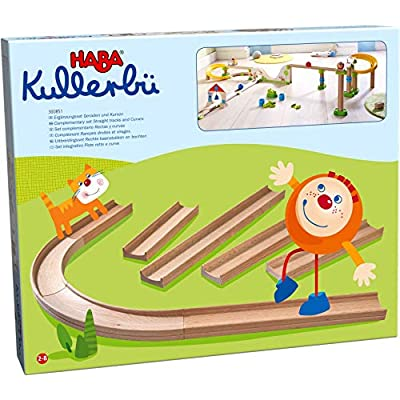 HABA Kullerbu Expansion Set - Straight Tracks and Curves - 8 Piece Set for Expanded Layouts: Toys & Games