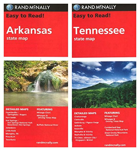 Arkansas County Maps - Rand McNally State Maps: Arkansas and Tennessee (2 Maps)
