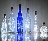 6 Pack 20-LEDS Spark Wine Bottle Light, Cork Shape Battery Copper Wire String Lights for Bottle DIY, Christmas, Wedding and Party Décor (White)