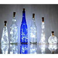 6 Pack 20-LEDS Spark Wine Bottle Light, Cork Shape Battery Copper Wire String Lights for Bottle DIY, Christmas, Wedding and Party Décor -White