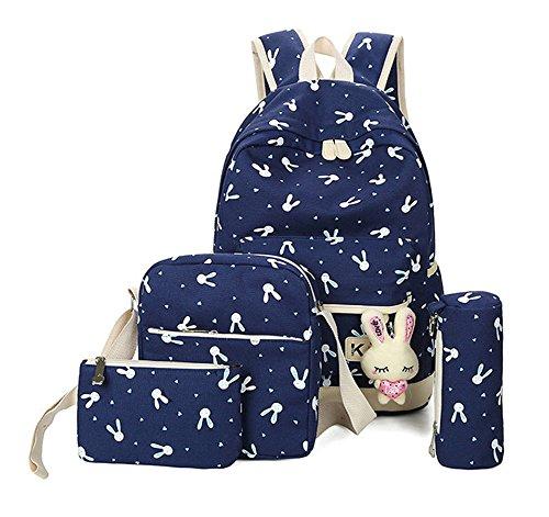 Fanci 4Pcs Cartoon Rabbit Prints Elementary School Girls Backpack Bookbag Canvas Casual Daypack