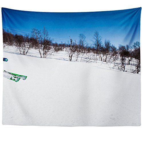 Westlake Art - Ski Skiing - Wall Hanging Tapestry - Picture Photography Artwork Home Decor Living Room - 68x80 Inch (Freeride Telemark Skis)