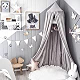 Yesurprise Mosquito Net Bed Canopy Princess Queen Round for Kids Baby Crib Dome Indoor Outdoor Castle Play Tent Hanging House Decoration Reading Nook Cotton Canvas Height 255cm/100.4 inch Grey