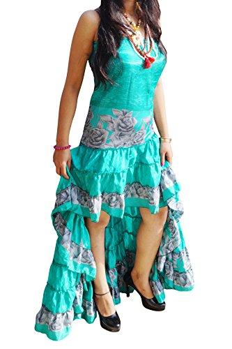 Green Dress Dance Silk (Mogul Womens Adara High-Low Dancing Dress Recycled Vintage Silk Sari Strapless Prom Gowns Maxi Dresses (Green))