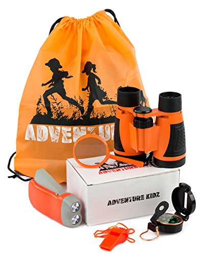 Adventure Kidz   Outdoor Exploration Kit  Children S Toy Binoculars  Flashlight  Compass  Whistle  Magnifying Glass  Backpack  Great Kids Gift Set For Camping  Hiking  Educational And Pretend Play