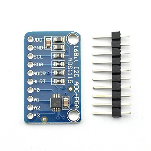 ZYAMY 16 Bit I2C ADS1115 Module ADC + PGA 4 Channel Ultra-Compact Development Board Ultra-Small Low-Power Analog to Digital Converter for Arduino RPi ()