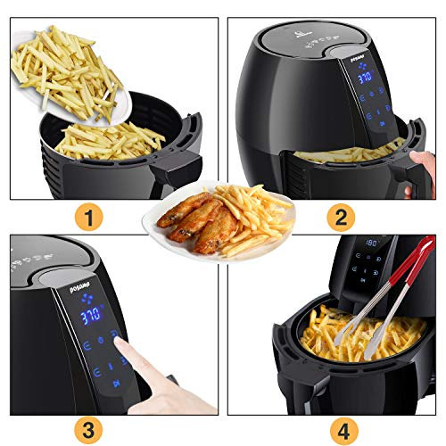 Air Fryer, POSAME LCD Digital Programmable Airfryer for Healthier Crisp Foods, Easily Detachable Frying Pot, Anti-scratch and Easy Clean Design, Auto Off and Memory Function, Family Size 4.2Qt by POSAME (Image #2)