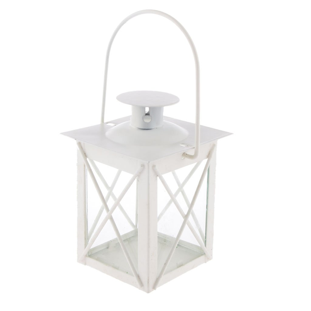 White Metal Hurricane Lantern Tea Light Candle Holder | ChristmasTablescapeDecor.com