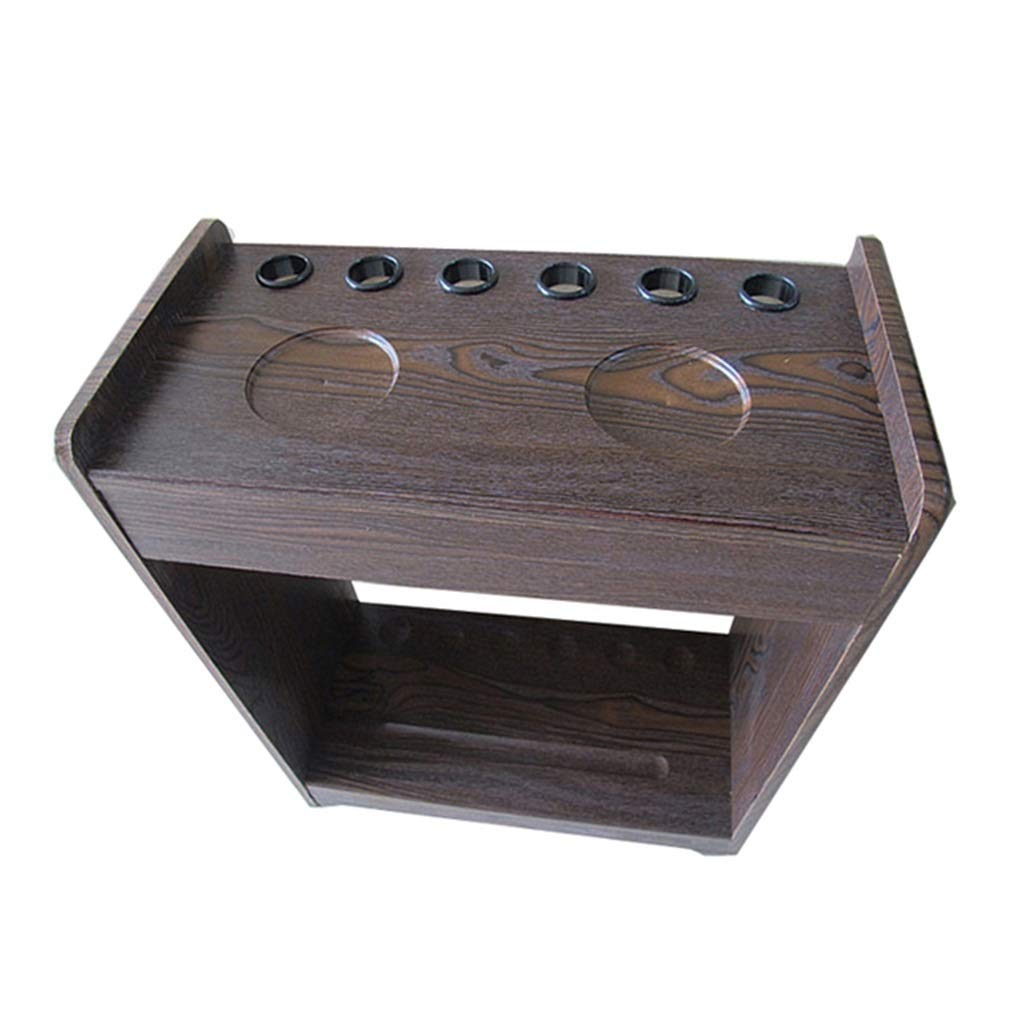 LCRACK プールキューラック、レトロ6穴24穴垂直配置耐摩耗性フロアスタンド高品質ユニセックス (Color : A, Size : 6 holes) A 6 holes