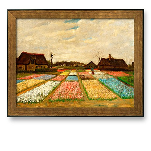 Flower Beds in Holland (or Bulb Fields) by Vincent Van Gogh Framed Art Print Famous Painting Wall Decor Bronze and Black Frame
