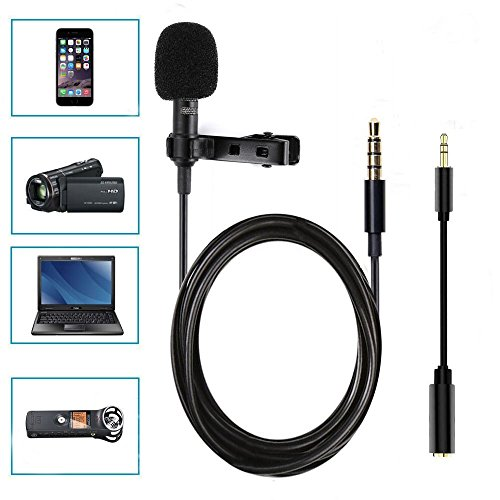 Boostech Lavalier Lapel Microphone-Clip-on Omnidirectional Condenser Microphone for Apple iPhone Android Smartphones PC & Camera Perfect for Recording Youtube,Interview,Studio,Video (Condenser Room)