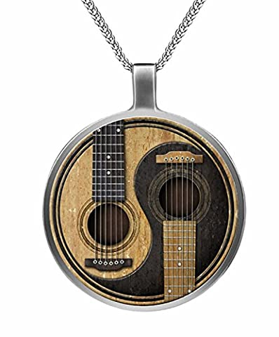 Musical Instrument Twin Acoustic Guitar Cobochon Necklace - Electric Guitar Necklace Jewelry