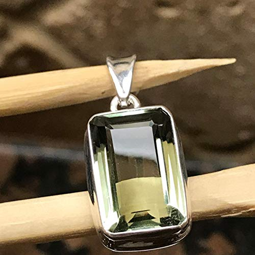 Natural Green Amethyst 925 Solid Sterling Silver Pendant 27mm ()